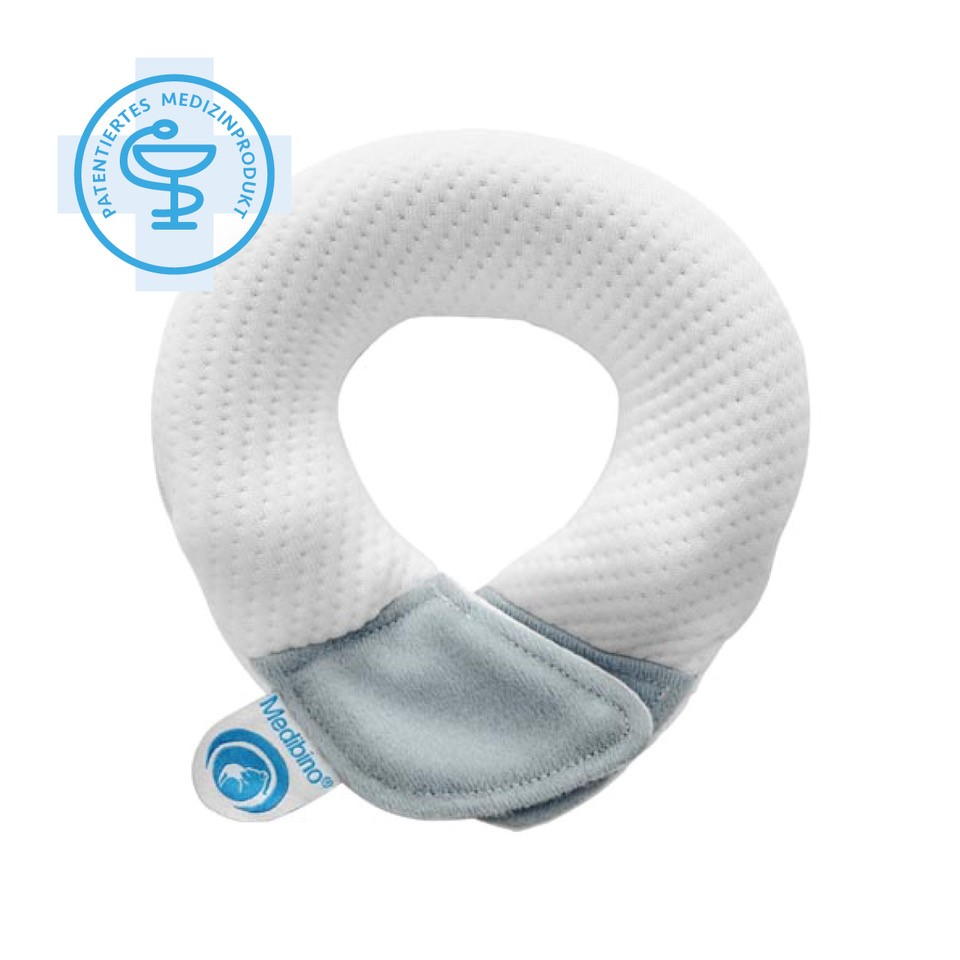 Babykissen weiß/grau - Medibino Babykopfschutz I  Material: Tencel