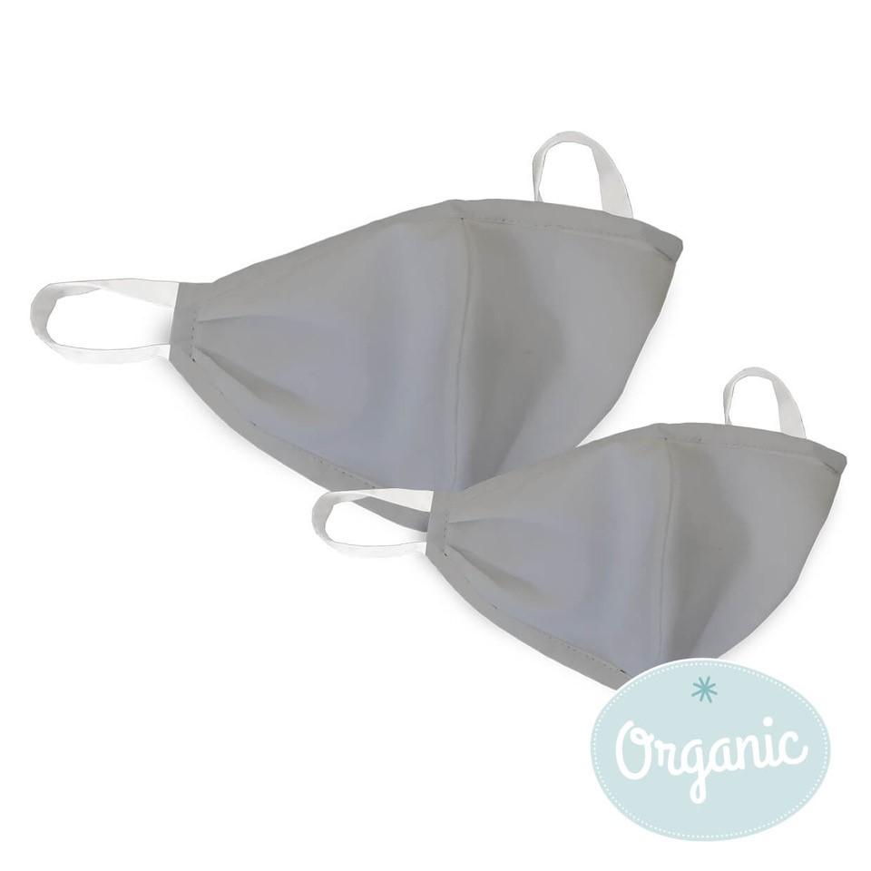 Medibino 2er Set Mund- und Nasenmaske Erwachsener + Kind Biobaumwolle (Organic) - Basic Grau